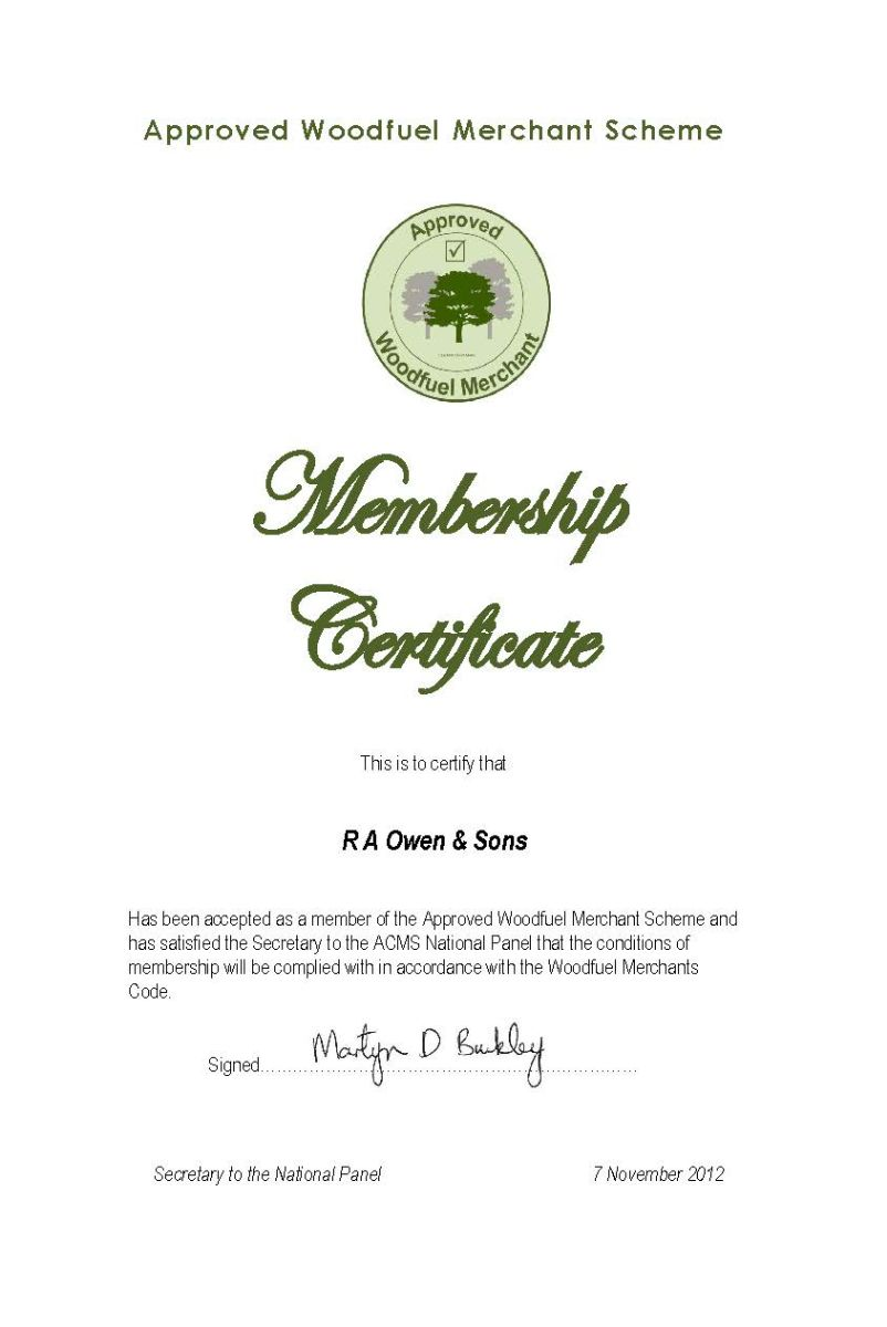 Approved Woodfuel Merchant Certificate